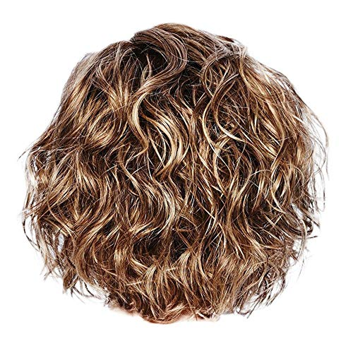 - Redvive Top Women Gold Brazilian Short Wavy Curly Parting High Temperature Fiber Wig Hair