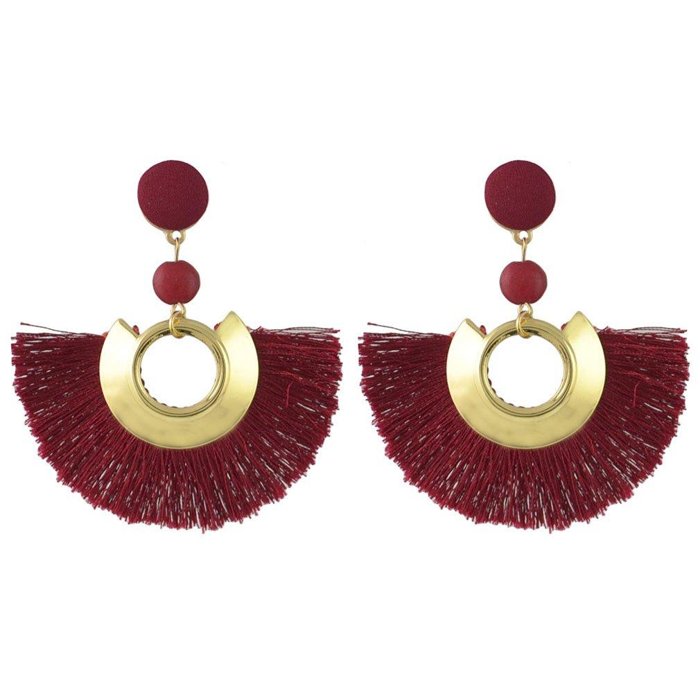 Jinxian Tassels Drop Earrings Vintage Dangling Gold Plated Round Studs