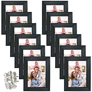 Giftgarden 12 Packs 3.5x5 Black Picture Frame Set with Picture Mount for Table Display and Wall Decor