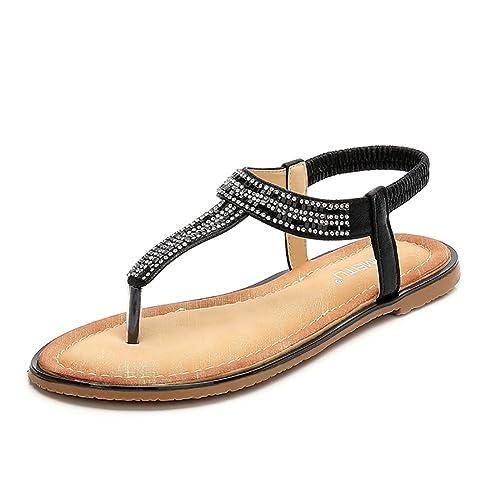 9b4561f2305 Meeshine Women Bohemia Flat Sandals Summer Beach Glitter Beads Elastic T-Strap  Flip-Flop
