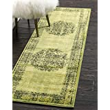 Unique Loom Imperial Collection Modern Traditional Vintage Distressed Sage Green Runner Rug (2' x 6')