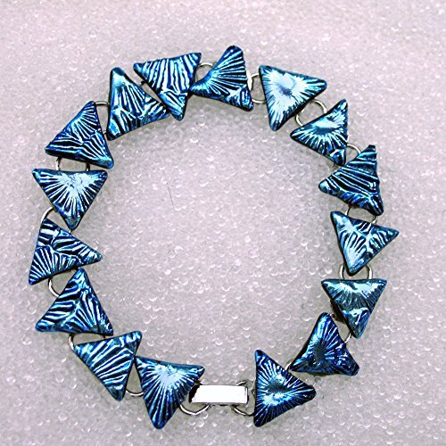 - Triangle Bracelet, Dichroic Fused Glass Bracelet in Sparkling Silver Blue Triangles, 16 Links in 7 1/4