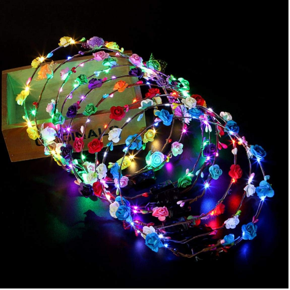 Oulensy 10 Glowing Garland Hochzeit Crown Blumen-Stirnband LED-Licht Weihnachten Neon Wreathdekoration Luminous Haar Garland Haarreif