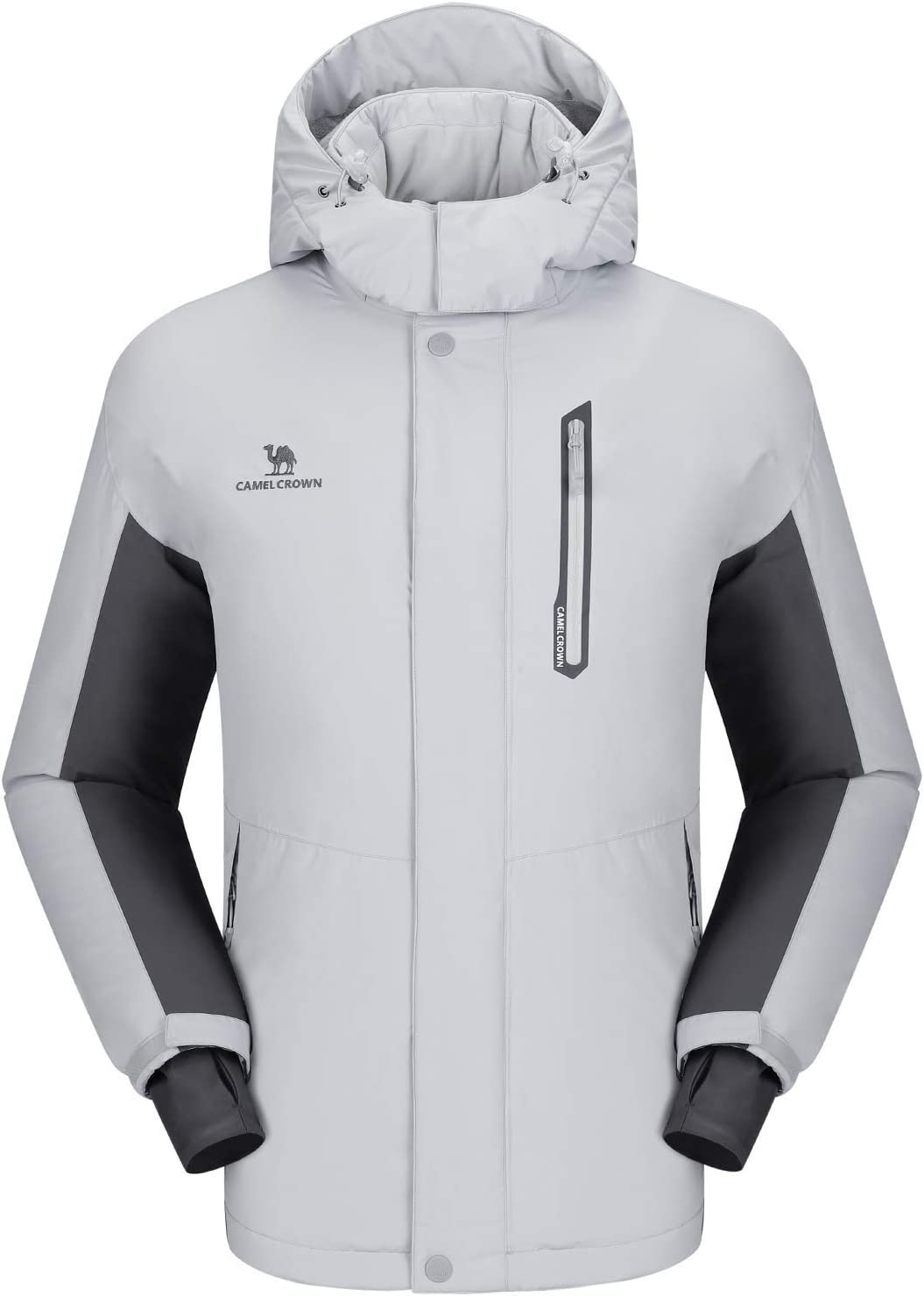 CAMEL CROWN Chaqueta Impermeable con Capucha para Hombre, A Prueba de Viento Chaqueta de Esquí con Forro Polar, Jacket Invierno para Montaña Cámping Viajes Snowboard Deportes Múltiples Bolsillos