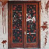 6 Sheets Halloween Bloody Handprint Footprint Window Clings Decals, Horror Bathroom Decor Zombie Walking Dead Party Decorations