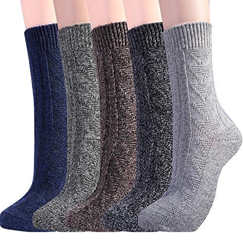 Womens Wool Socks Warm Winter Vintage Knit Boot Crew Socks Pack Of 5 Dark