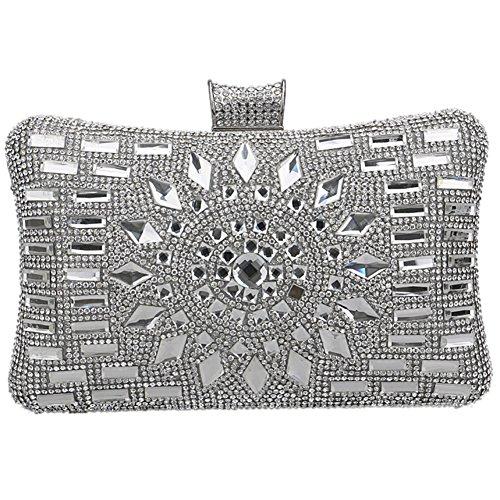 Silver Bandouliere pour Maquillage Bourse Sac Bal Pochette Clutch Soirée Femme Sac Fête à Chaîne Mariage Main Z6wn4x