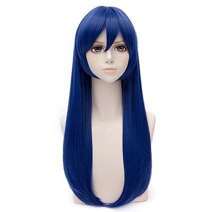 Lisanyeu - Peluca larga recta para mujer con capucha, color azul