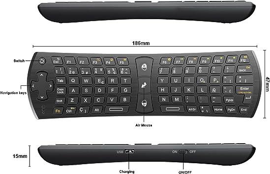 Rii Mini i24 (layout Español) Teclado inalámbrico con ratón giroscópico para Smart TV, Mini PC Android, PlayStation, Xbox, HTPC, PC,Raspberry Pi A B B+ ,Kodi: Amazon.es: Electrónica