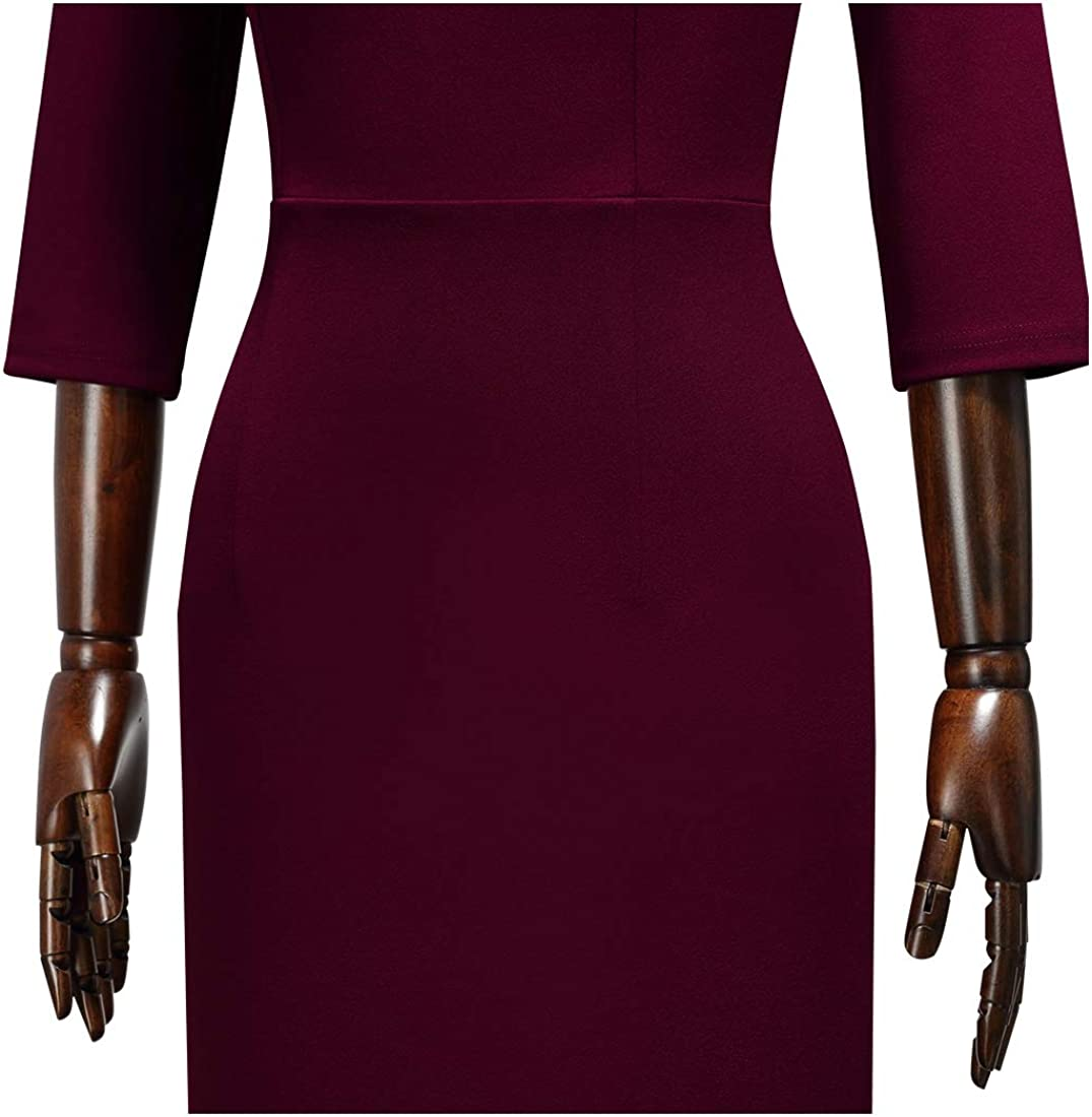 MIUSOL Damen V-Ausschnitt mit Kragen Vintage Etuikleid Kurzarm Businesskleid Cocktailkleid festliches R/üschen/ärmel Kleid
