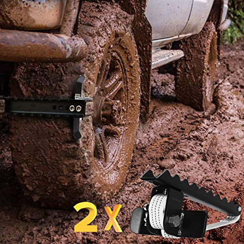 EZUNSTUCK Tire Anti-Skid Tool - RWD/AWD/4x4 SUV, Trucks, Pickup - EZ-D02ML Ultimate Get Unstuck Solution for Mud, Sand, Snow, Off-Road - Better Than Traction Mat, Recovery Tow Strap(Medium/Set of 2)