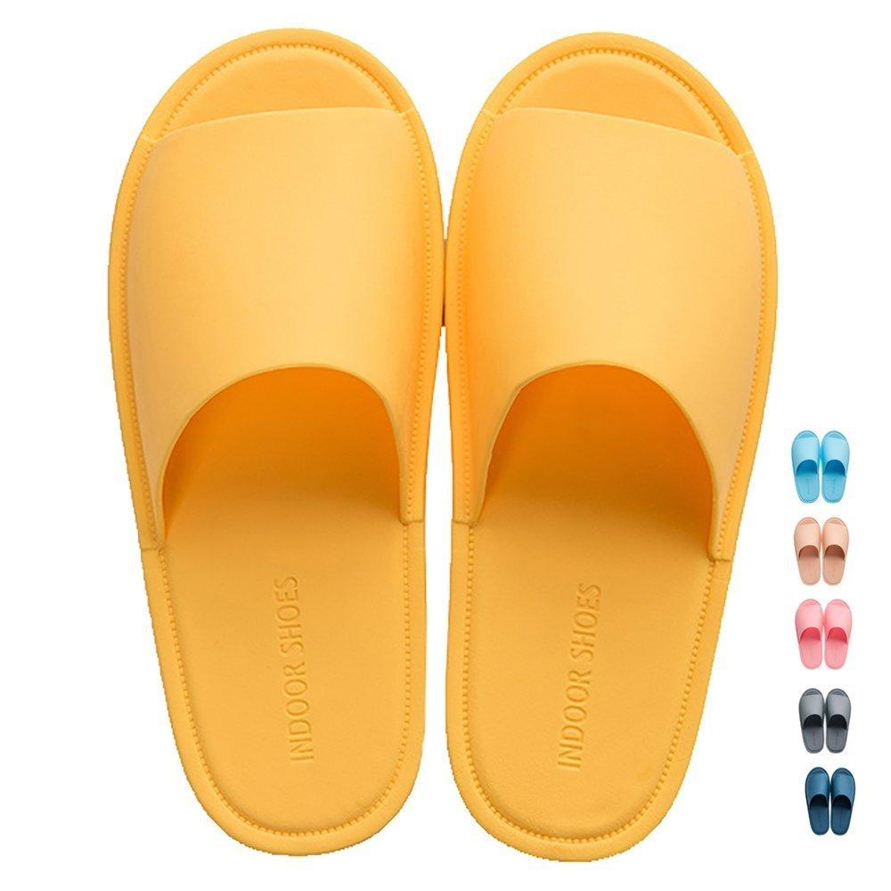 Share Maison Unisex Open Toe Indoor House Anti-Slip Slippers Summer spa Bathroom Shower Shoes (US Women 7-8/EUR 39-40, Yellow)