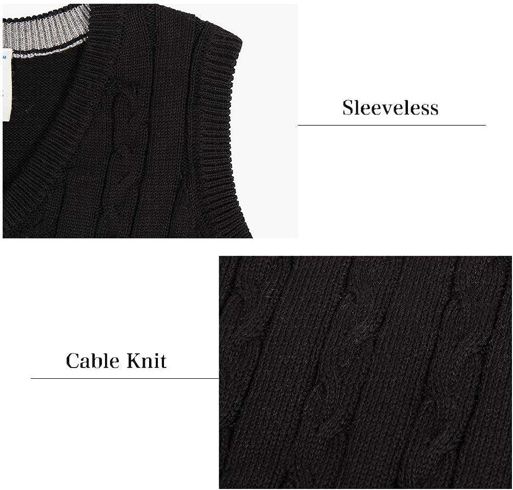 Benito /& Benita Boys Uniform Sweater V-Neck Cotton Pullover Cable Knit Sweater for 5-12Y
