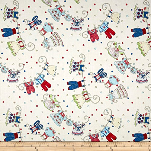 Riverwoods Collection Riverwoods Vintage Vogue Laundry Clothesline White Fabric by the ()