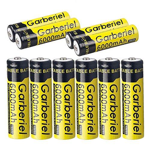 Garberiel 10pcs 3.7v 6000mah Rechargeable 18650 Batteries Powerful Battery for LED Lights