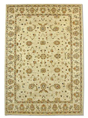 Traditional Persian Chobi Handmade Sultanabad Rug, Wool, Cream, 6' 10