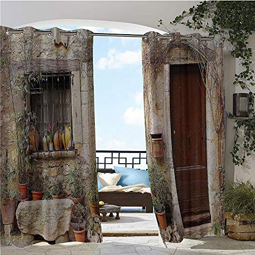GUUVOR Exterior/Outside Curtains, Flowerpot Plants in Front Yard French Hilltop Village Saint Paul De Vence Heritage, for Patio Light Block Heat Out Water Proof Drape W72 x L108 Inch