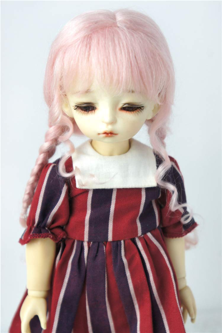 BJD Wigs D2033B Twins Braids Mohair BJD Doll Wigs varopis Sizes and Colors Available (Light Pink, 6-7inch)