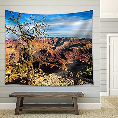 Classic Artwork, Lovely Expert Craftsmanship, Landscape View of Grand Canyon with Dry Tree in Foreground Arizona USA Fabric Wall
