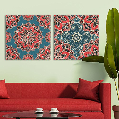 2 Panel Square Exquisite Floral Pattern Patterns x 2 Panels