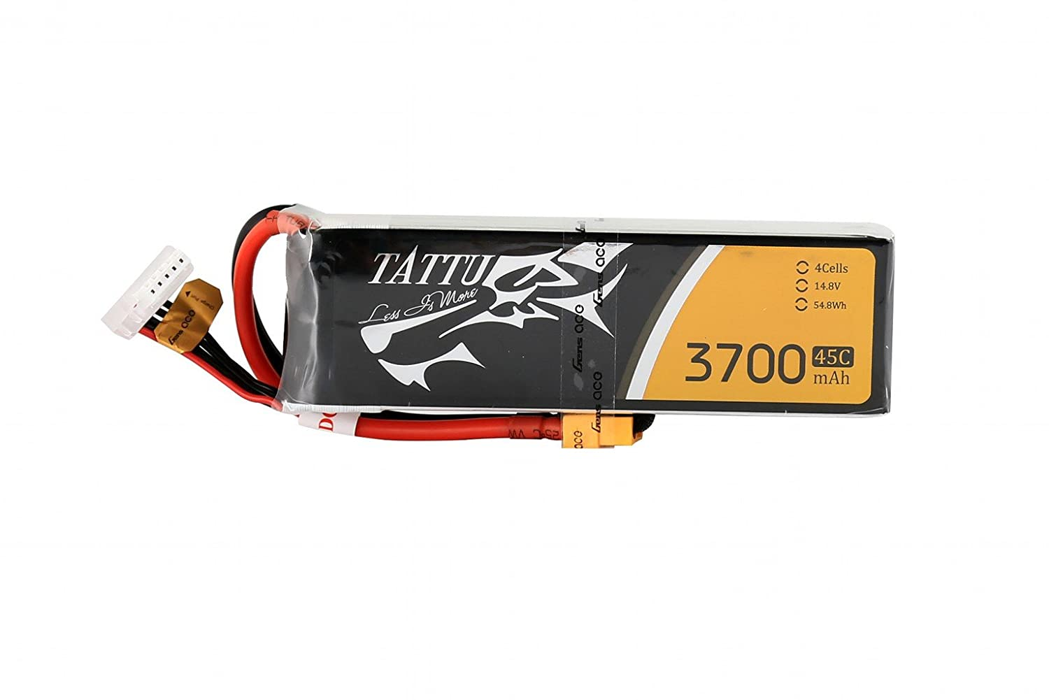 Tattu LiPo Battery Pack 3700mAh 14.8V 45C 4S Rechargeable RC Battery with XT60 Plug for FPV Racing Quad Copter Drone Airplane Aircraft Flight Blackout Mini Spider Hex 330 360