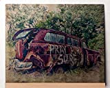Metal Art: Vintage Car - Pray for Surf Photo Transfer Metal Artwork on Aged Aluminum 8x10