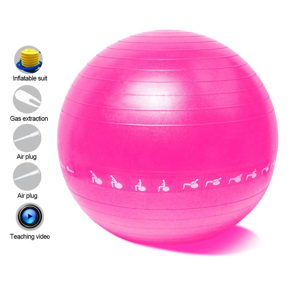 Exercise Yoga Ball, Anti-Burst Exercise Swiss Ball with Pump for Yoga Pilates Fitness Physical Therapy Birthing Pregnancy Gym and Home (Color : Pink, Size : 55cm)