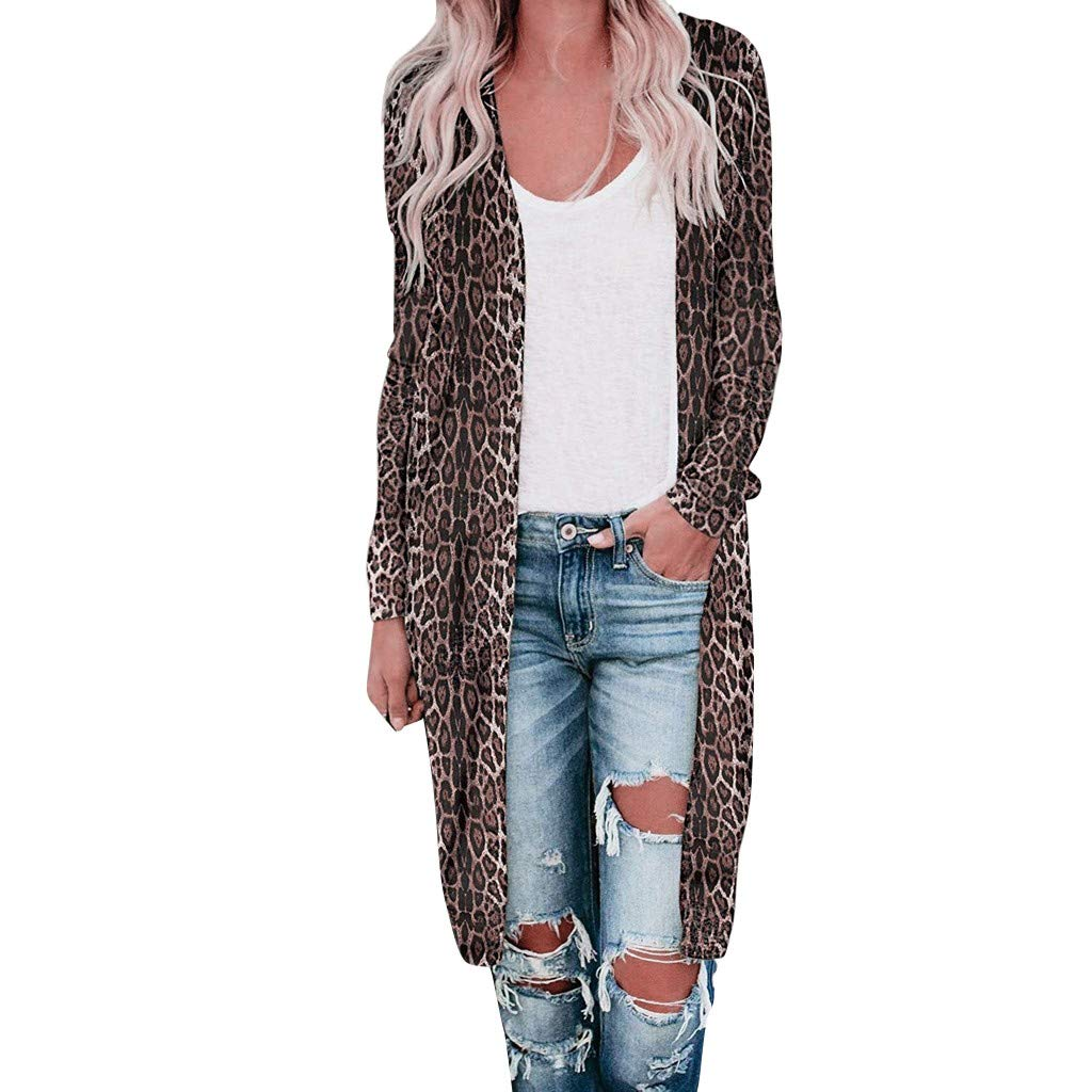 Baiggooswt Women Autumn Long Sleeve Cardigan Tops Casual Leopard Printed Loose Open Front Outwear Trench Coat
