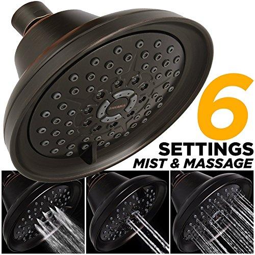 Mist Shower Head High Pressure Multi Function 2.5 GPM Powerful Spray, Best Shower Massage Wall Mount Fixed Shower for Modern Luxury Bathroom, High Flow Jet Adjustable Oil Rubbed Bronze Shower Head