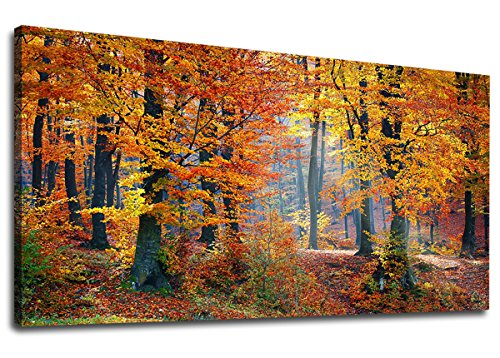 "yearainn Canvas Wall Art Autumn Forest Panoramic Red Trees Scenery Painting - Long Canvas Artwork Contemporary Woods Nature Picture for Home Office Wall Decor 20"" x 40"""