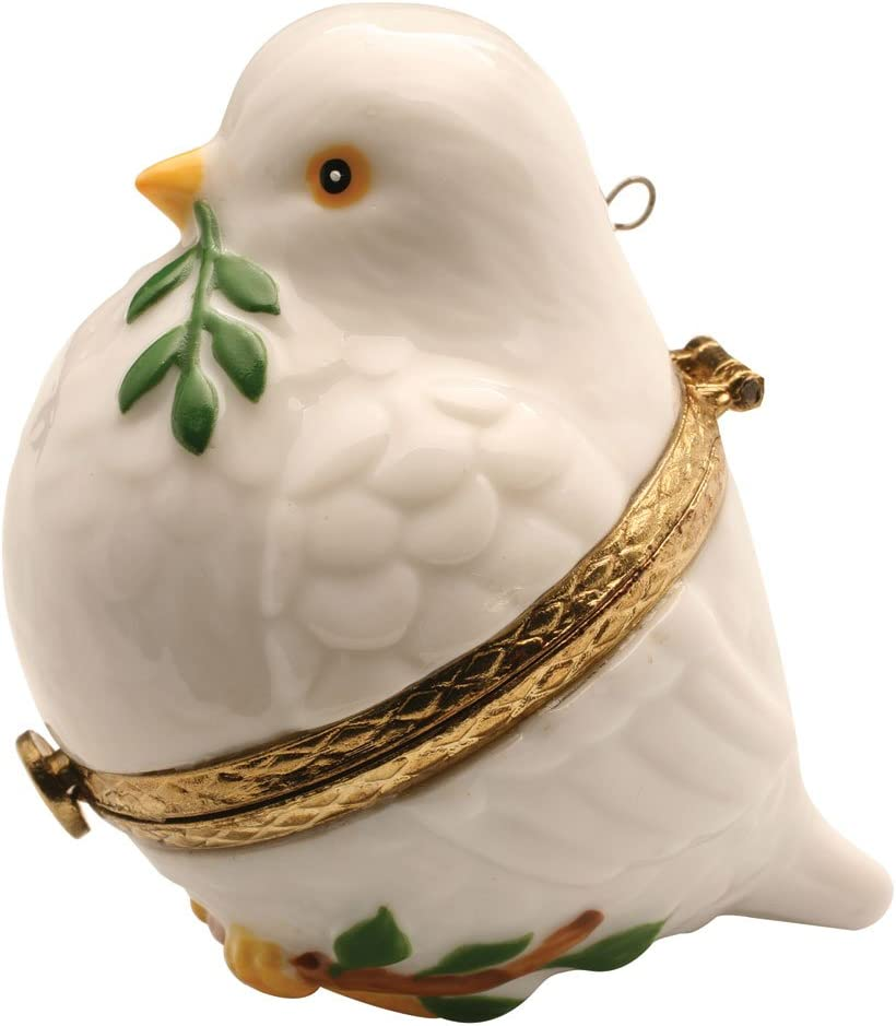 Porcelain Christmas Tree Hinged Ornament Box - Peace Dove