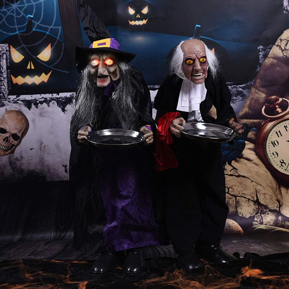 RHSML Halloween D/éCoration Butler Femme M/éNag/èRe Horreur Accessoires /éLectriques Convient pour Le Centre Commercial Bar Maison Hant/éE Mise en Page