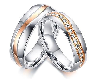 42c7191ef058 Vnox 2 piezas de acero inoxidable Banda de boda mejor cúbicos Zirconia  compromiso de pareja amor anillo conjuntos  Amazon.es  Joyería