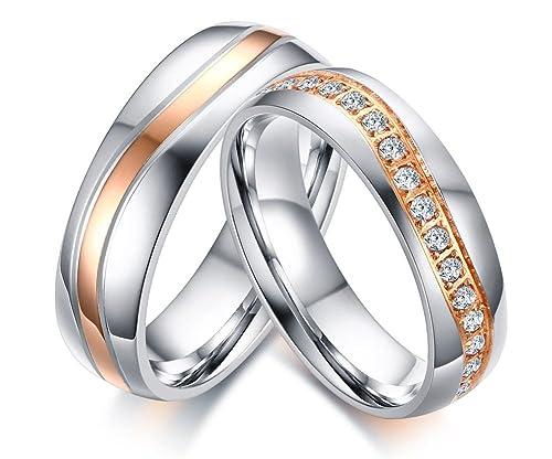 Vnox 2 piezas de acero inoxidable Banda de boda mejor cúbicos Zirconia compromiso de pareja amor anillo conjuntos: Amazon.es: Joyería