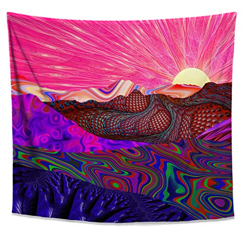 Lucid Eye Studios Trippy Trek Tapestry- Colorful Landscape Wall Tapestry- Sunrise Wall Art- Psychedelic Trail Wall Hanging- Rainbow Wall Decor]()