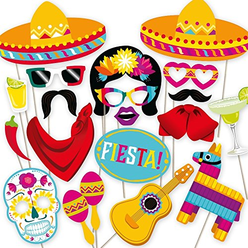 Fiesta Photo Booth Props by PartyGraphix. Perfect for Mexican Photo Booth Props Stand. Fiesta Party Supplies. Kit Includes 32 Pieces. from PartyGraphix