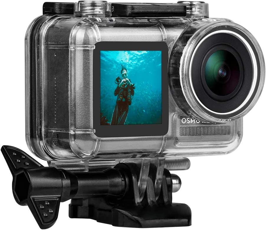 Waterproof Case for DJI OSMO Action Camera, 131FT/40M Underwater Photography Housing Protective Shell with 9H Screen Protector Anti Fog Inserts for Diving Skiing Surfing Climbing Skydiving, Uhomely
