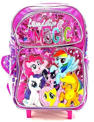 "My Little Pony Girls 16"" Pink School Rolling Backpack Friendship is Magic"
