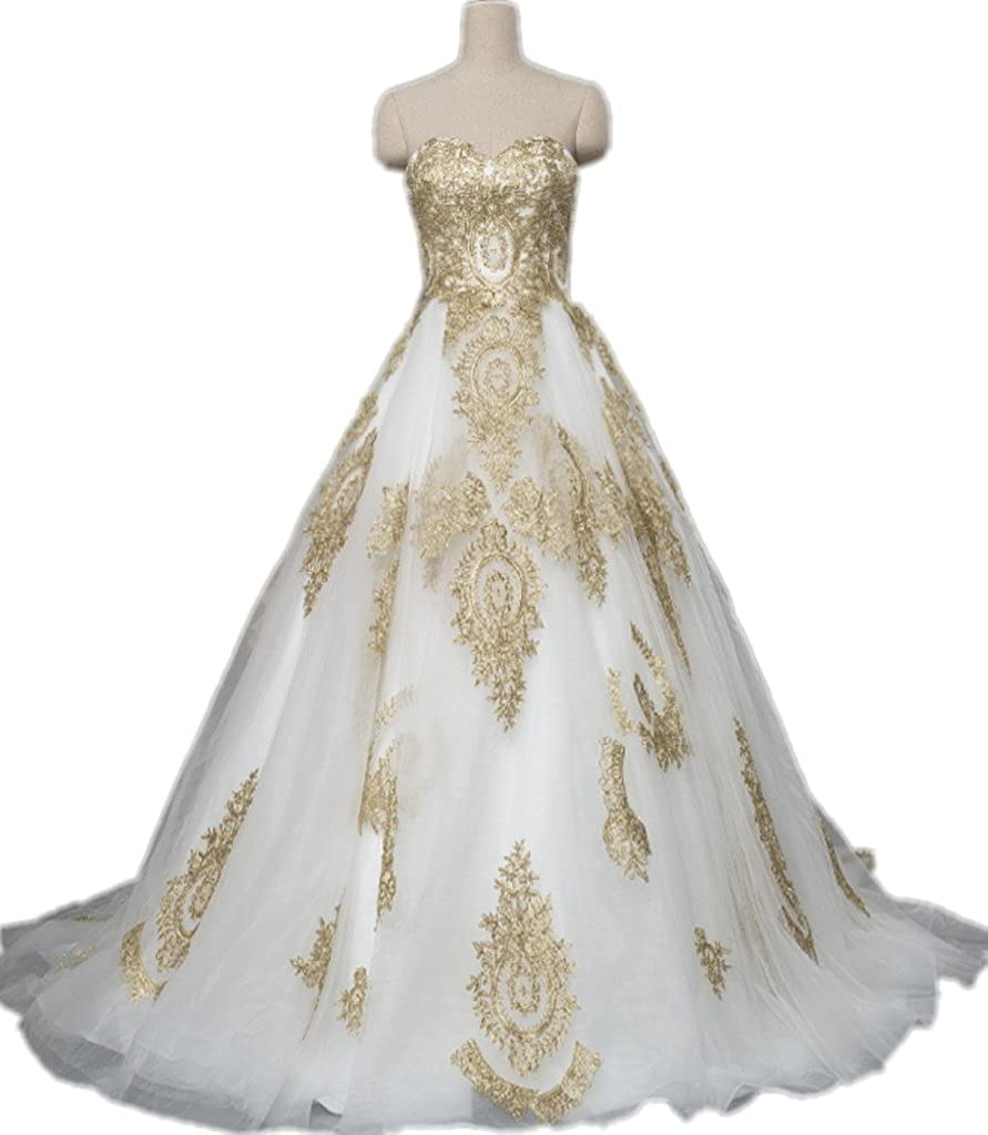 APXPF Women's Gold Lace Applique Wedding Dress Prom Ball Gown Cathedral Train ACH004-1