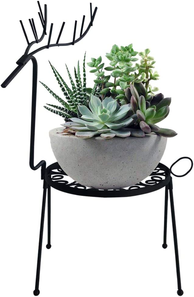 smtyle Plant Stand Iron Flower Pot or Candle Holder Potted Stand Indoor or Outdoor Display Rack Floor Reindeer Vibrant Decor Black
