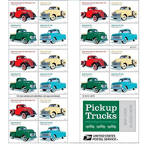 Pickup Trucks USPS Forever Stamp 1938 International Harvester D2 1948 Ford F1 1953 Chevrolet 1965 Ford F100 1 Book of 20 - Rates First Class Usps International