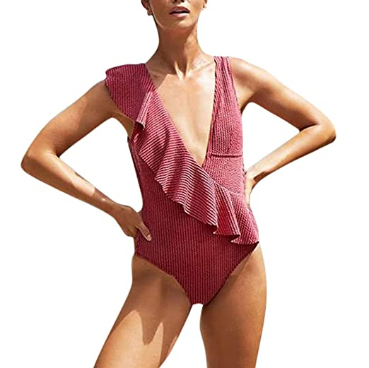 88e14548ca5 Atezch Sexy Women Falbala Deep V Neck One Piece Swimsuit Ruffles Backless  Monokini Bathing Suit at Amazon Women's Clothing store: