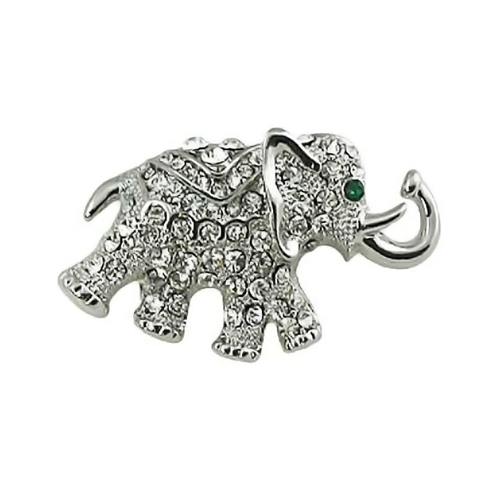 Silvertone with Crystal Elephant Brooch Pin