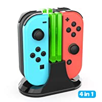 Charging Dock for Switch Joy-Con, YCCTEAM 4 in 1 Switch Joy-Con Charger Station with Lamppost LED Indication and USB Type C Charging Cable
