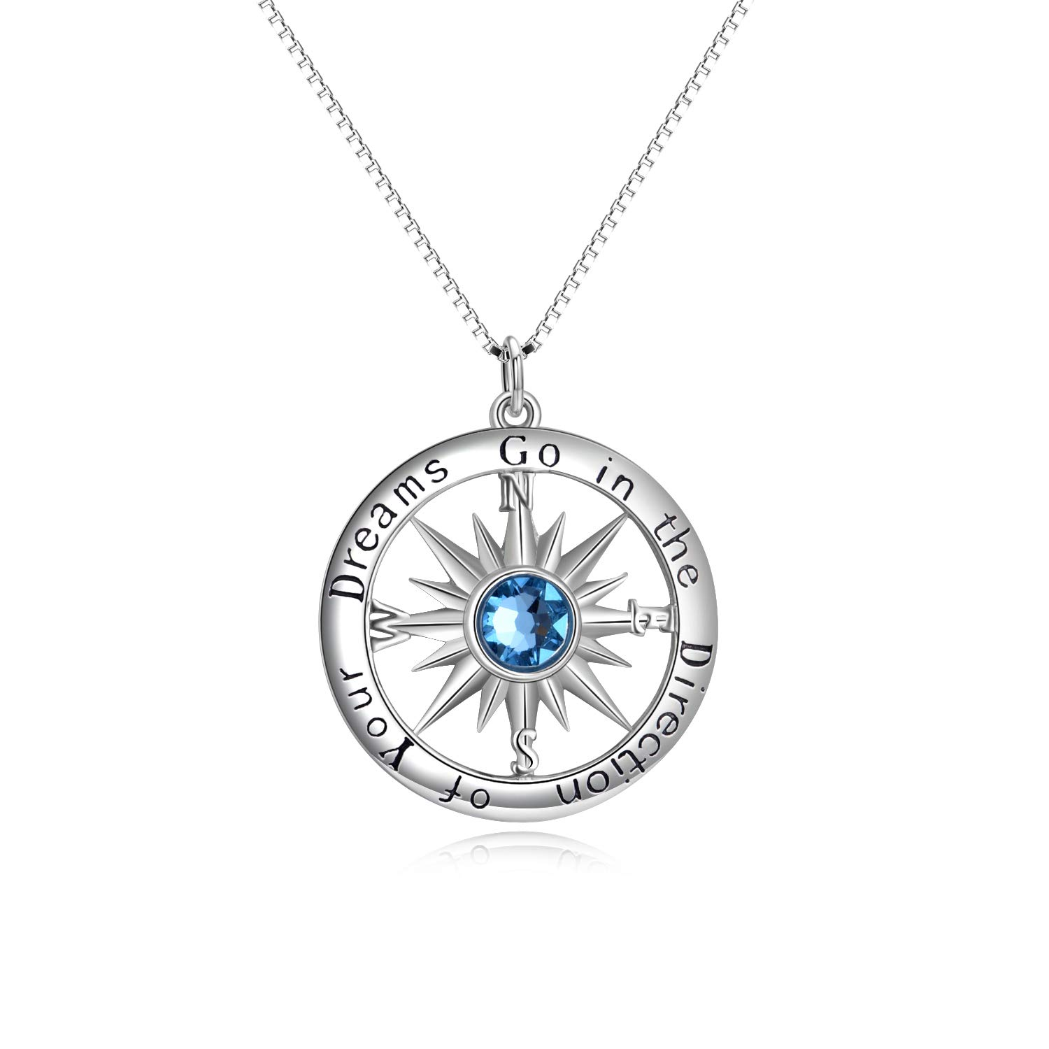 AOBOCO S925 Sterling Silver Blue Birthstone Sun Compass Necklace for Women Men Kids Go in The Direction of Your Dreams Engraved Pendant for Best Friend Graduation Birthday Gift (18IN Box Chain)