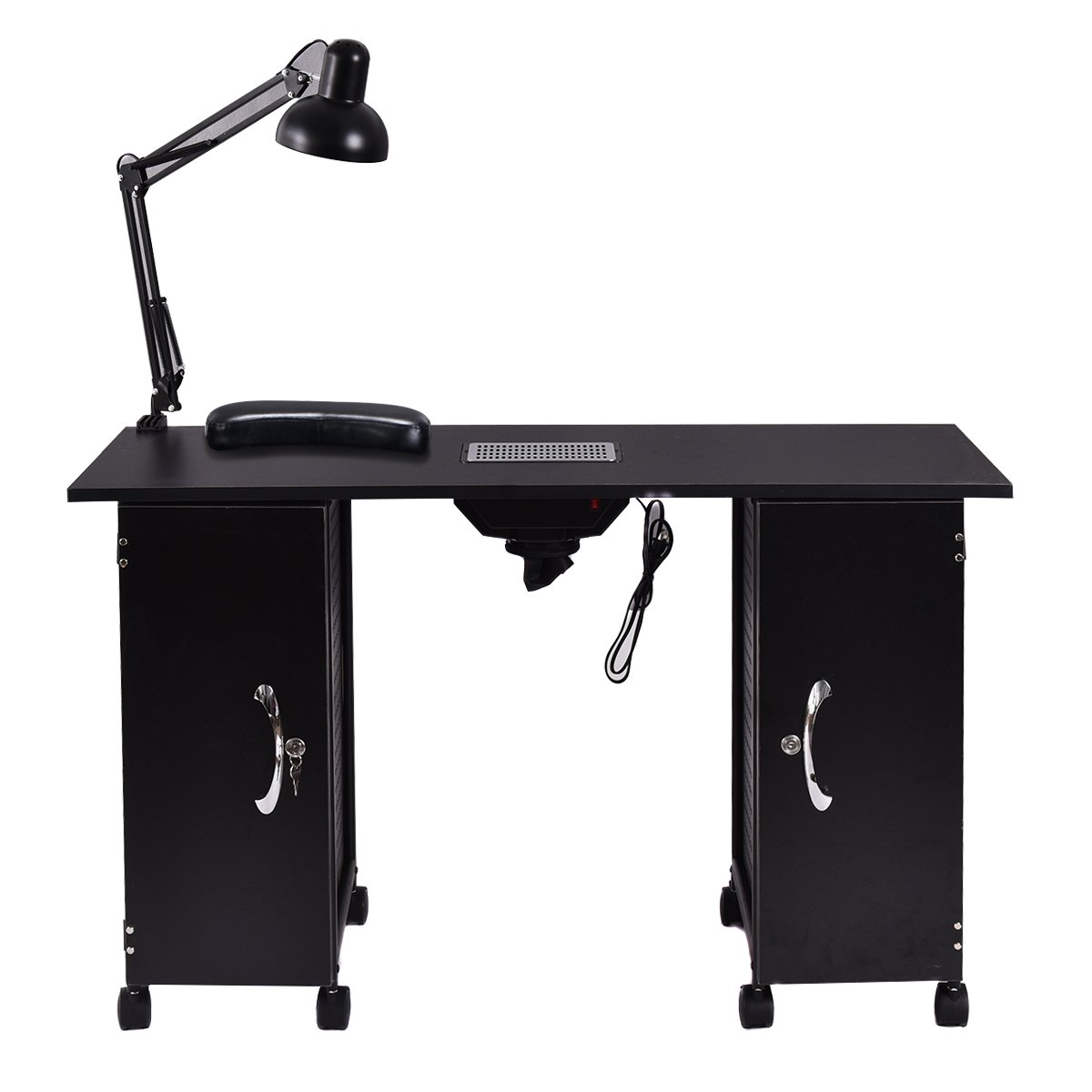 md-group Manicure Nail Table Station Black Steel Frame Beauty Spa Salon Equipment Drawer