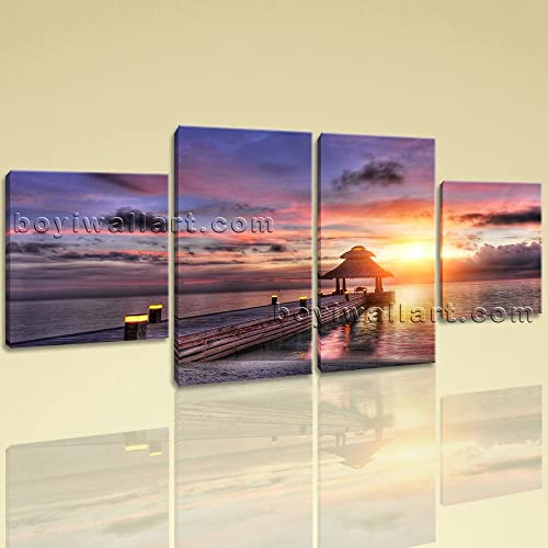 Large Landscape Canvas Art Sunset Photography Dining Room Four Pieces Print Wall