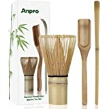 Anpro Japanese-Style Bamboo Matcha Set, Traditional Entry-Level Set,Including Tea Whisk, Traditional Spoon, Tea Spoon, Operating Instructions