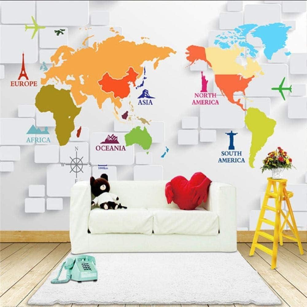 3d Wallpaper Custom Mural Stereo World Map Mural Bedroom Sofaliving Room Hall Background White Brick Scenic Spot Mark Wallpaper Mural 200x140cm Amazon Com