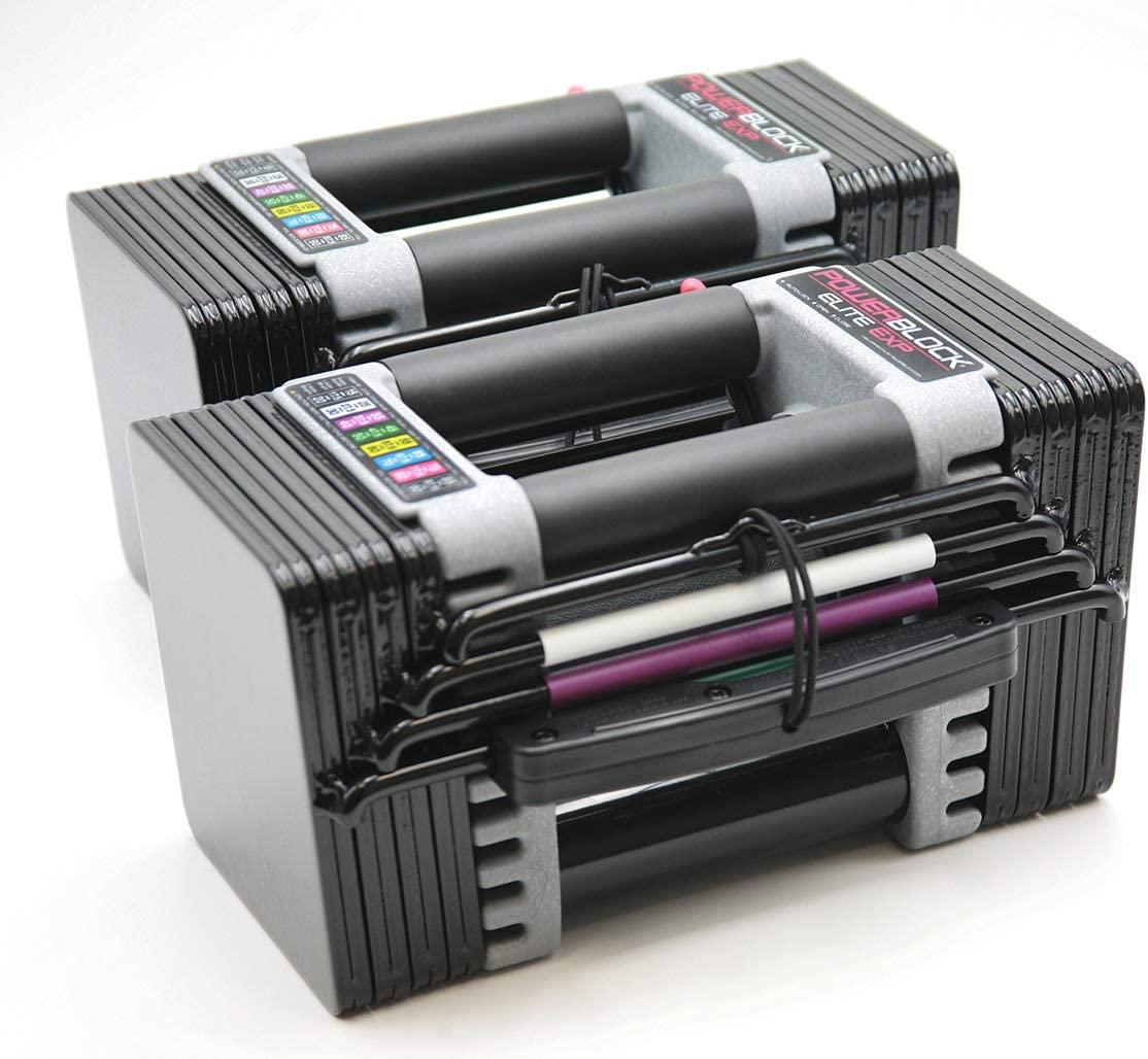 POWERBLOCK Elite EXP Adjustable Dumbbell (2020 Model), Black (503-00096-01)